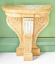 PAIR MODERN NEOCLASSICAL STYLE MARBLE CONSOLE TABLES