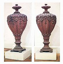 PAIR CLASSICAL STYLE COVERED URNS