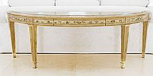 LOUIS XVI STYLE CARVED AND PAINTED WOOD CONSOLE TABLE