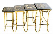 SET FOUR JAPANESE STYLE PARCEL GILT LACQUERED NEST SIDE