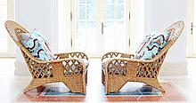 PAIR LARGE WICKER ARMCHAIRS