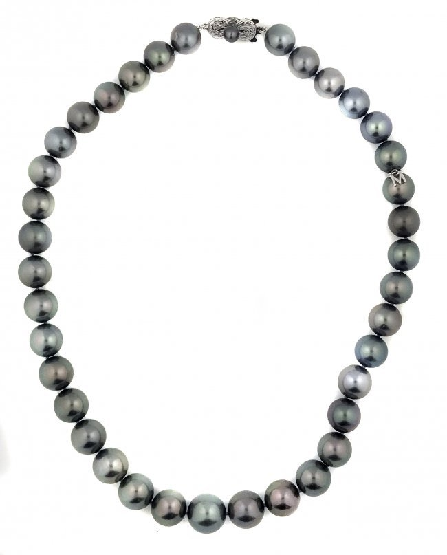 Mikimoto Pearls Necklace: MIKIMOTO,GRAY COLOR CULTURED PEARL NECKLACE