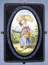 ITALIAN MICRO MOSAIC OVAL PLAQUE OF A FARM GIRL