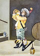 ITALIAN PIETRA DURA PLAQUE OF A DRINKING CAVALIER