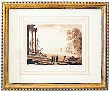 SIX SEPIA LANDSCAPE FASCIMILE ENGRAVINGS, AFTER CLAUDE
