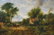 FREDERICK W. WATTS, (BRIT.1800-1862) TIMBER WAGON, O/C