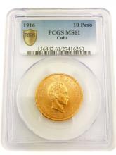 1916 CUBAN GOLD COIN DIEZ PESOS