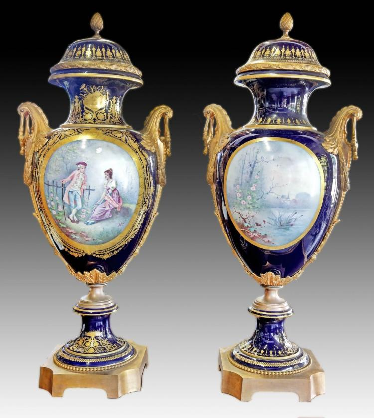 LARGE AND VERY FINE PAIR 19TH CENT. SEVRES STYLE VASES