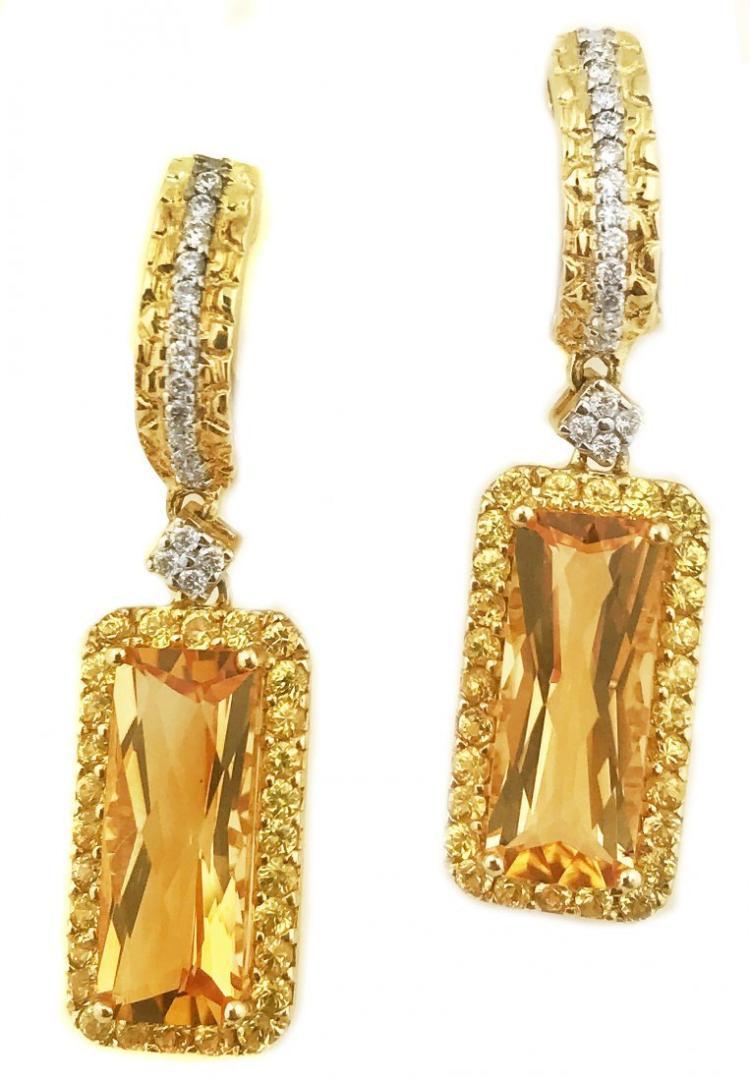 PAIR OF TOPAZ AND DIAMOND EARRINGS