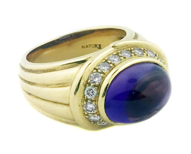 18 KARAT GOLD ,DIAMOND AND AMETHYST RING