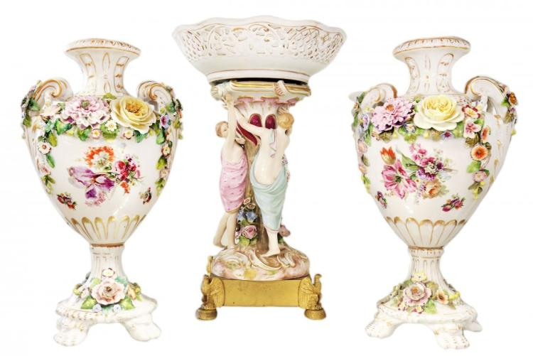 ASSEMBLED THREE PIECE CONTINENTAL PORCELAIN GARNITURE