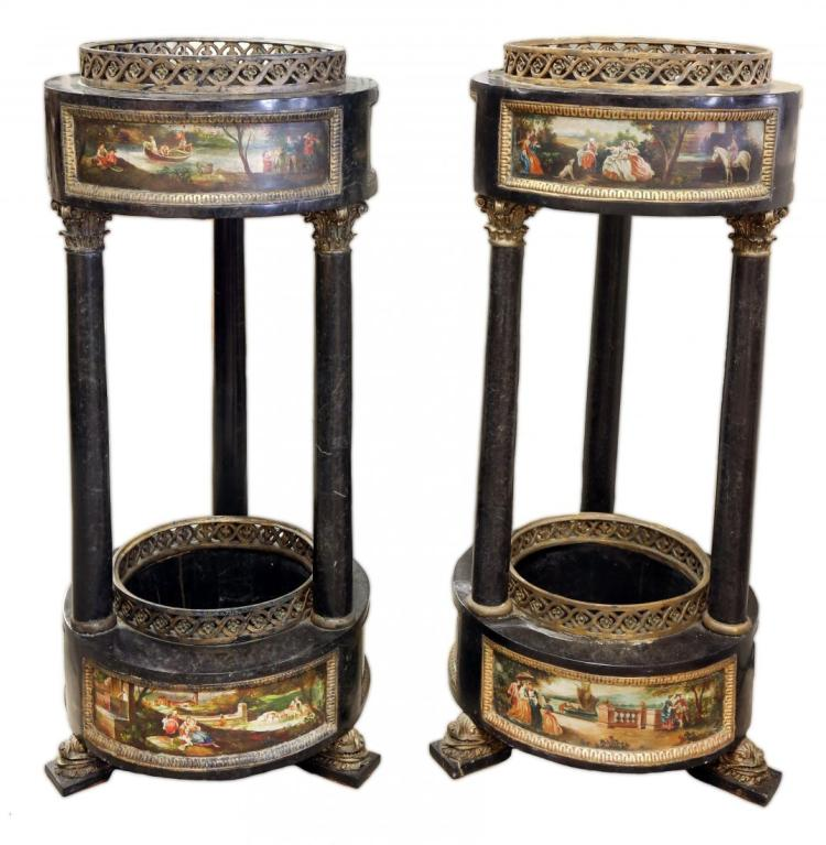 A PAIR OF NEOCLASSICAL MARBLE INLAID GARDEN PLANTERS