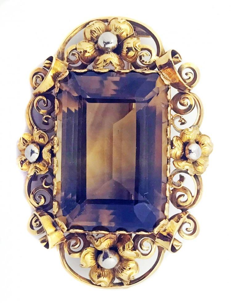 TOPAZ AND GOLD BROOCH/PIN