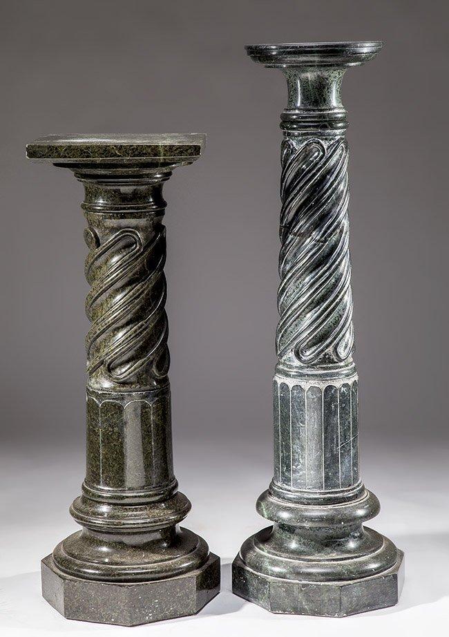 TWO ITALIAN VERDE ANTICO MARBLE PEDESTALS