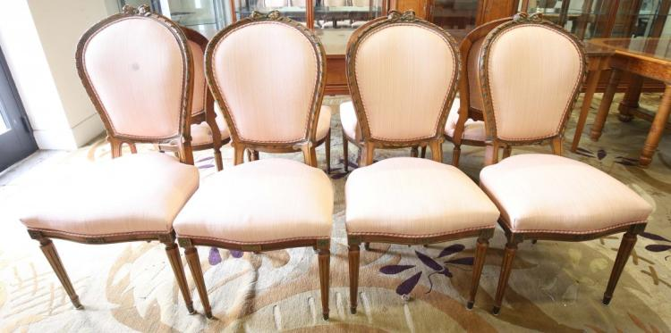 SET OF FOUR LOUIS XV STYLE DINING CHAIRS