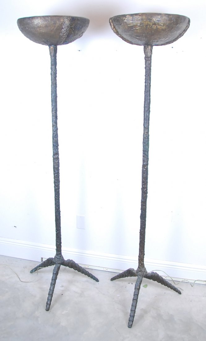 PAIR OF CONTEMPORARY PATINATED BRONZE FLOOR LAMPS