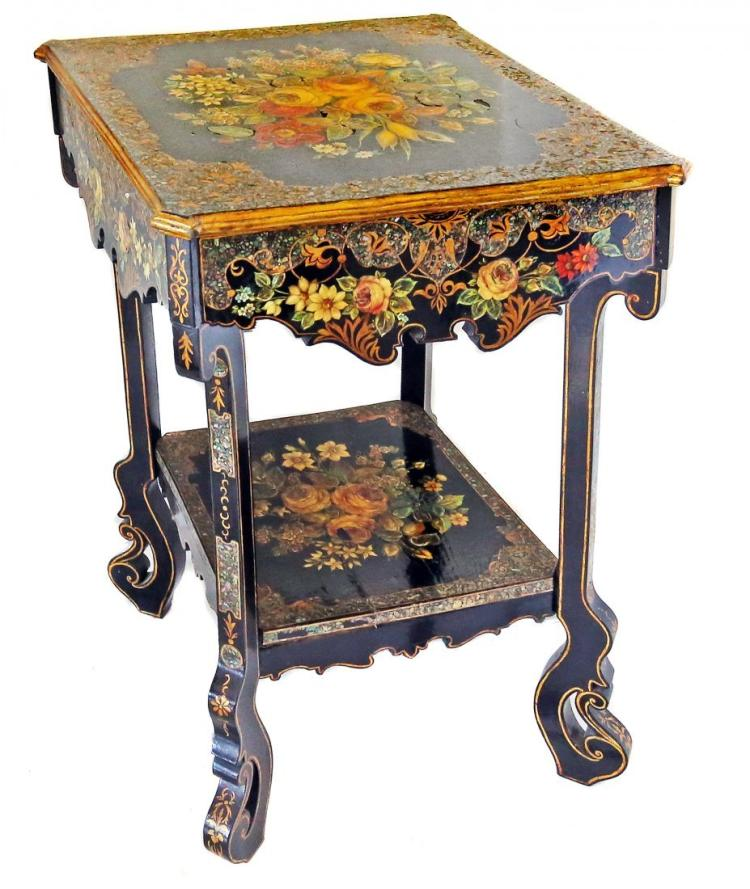 VICTORIAN STYLE PAINTED AND INLAID SIDE TABLE