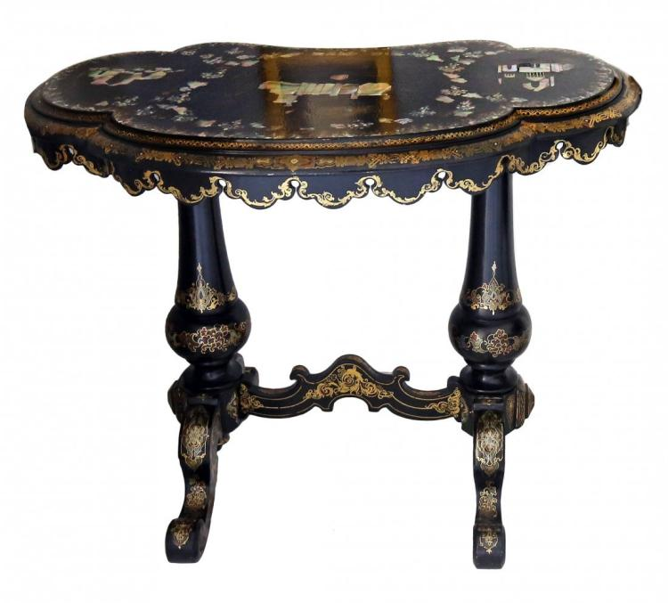 VICTORIAN MOTHER OF PEARL INLAID TABLE