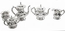 FIVE PIECE AMERICAN SILVER TEA AND COFFEE SERVICE