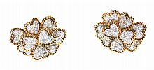 PAIR 18 KARAT GOLD DIAMOND EARRINGS