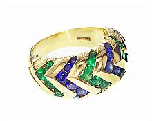 BVLGARI GOLD, EMERALD AND SAPPHIRE RING
