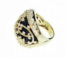 ENAMEL AND DIAMOND RING
