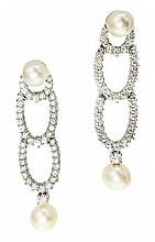 PAIR TIFFANY & CO. CULTURED PEARL AND DIAMOND EARRINGS