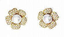 PAIR DIAMOND AND CULTURED PEARL EARCLIPS