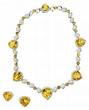 GOLD, CITRINE AND DIAMOND 3-PC SUITE