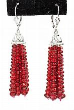 PAIR GOLD AND RUBY ???CHANDELIER??? EARRINGS