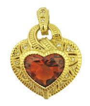 JUDITH RIPKA 18 KARAT GOLD CITRINE HEART PENDANT