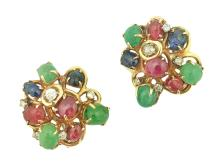 PAIR OF 18K GOLD, DIAMOND AND COLORED STONE EAR CLIPS