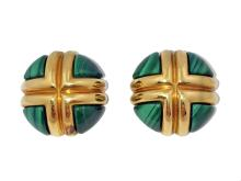 PAIR OF 18 KARAT GOLD AND MALACHITE EAR CLIPS