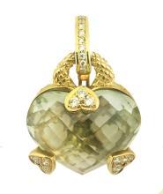 JUDITH RIPKA 18 KT GOLD QUARTZ, DIAMOND HEART PENDANT