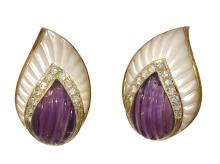CARVED AMETHYST,DIAMOND AND MOTHER OF PEARL  EAR CLIPS