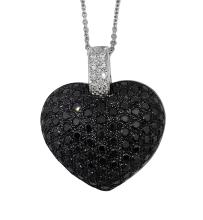 A BLACK DIAMOND 'HEART' PENDANT NECKLACE