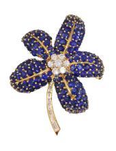 18 Karat Gold Sapphire and Diamond  Brooch