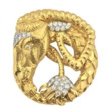 FINE 18 KT GOLD &PLATINUM DIAMOND BROOCH, DAVID WEBB