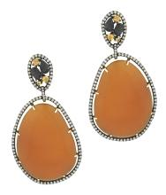 PAIR OF DIAMOND AND YELLOW AGATE EAR CLIPS