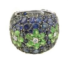 18 Karat Gold, Sapphire, Tsavorite and Diamond Ring