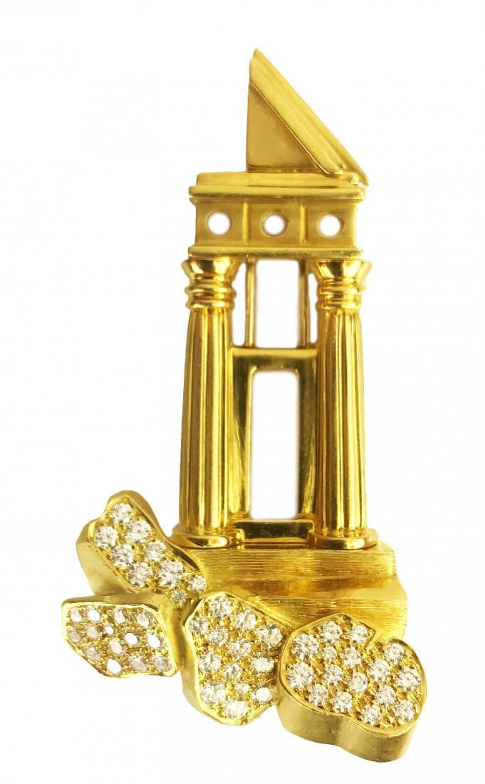 HENRY DUNAY, 18 Karat Gold and Diamond Brooch