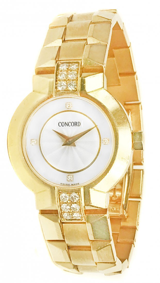 CONCORD, A LADY'S YELLOW GOLD AND DIAMOND WATCH