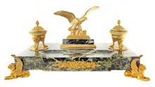 FRENCH EMPIRE GILT-BRONZE AND MARBLE INKSTAND