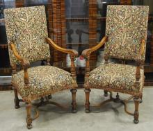 PAIR GEORGE II STYLE CARVED WALNUT LIBRARY ARM CHAIRS