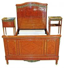 ANTOINE KRIEGER, BED STAND AND TWO BEDSIDE CABINETS
