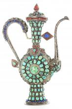 Mongolian Ceremonial Silver Wine Jug and Cover