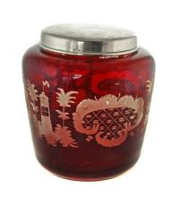 BOHEMIAN RUBY-TINTED AND CUT TO CLEAR GLASS JAR