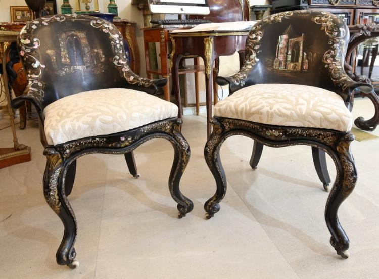 Pair of Victorian Mother of Pearl Inlaid Armchairs