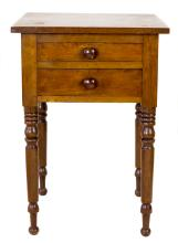 FEDERAL STAINED PINE WORK TABLE, 19th CENTURY