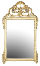 NEOCLASSICAL STYLE PAINTED AND PART GILT CARVED MIRROR